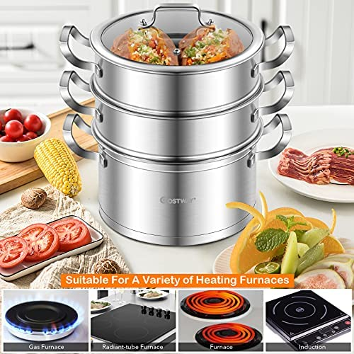 51DnIKE0W7S. AC COSTWAY 3-Tier Stainless Steel Steamer for Cooking, Boiler Pot with Handles on Both Sides, Transparent Tempered Glass Lid, Free Combination Design, for Induction, Radiant-Tube Furnace    Product Description