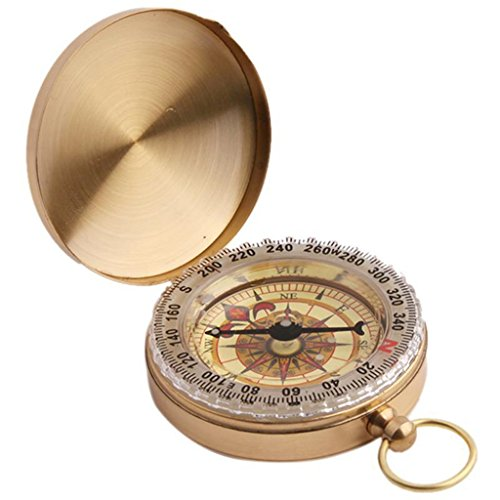 Pocket Watch Parts (UNKE Vintage Retro Outdoor Camping Hiking Portable Brass Pocket Watch Camping Compass Navigation Tool)