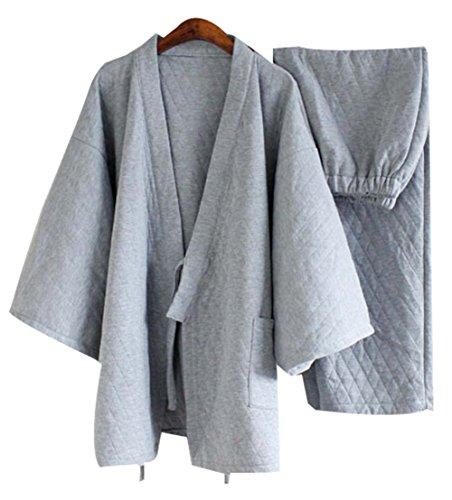 Cotton Pajamas Suit Tracksuit Bathrobe Men's Kimono Pajam...