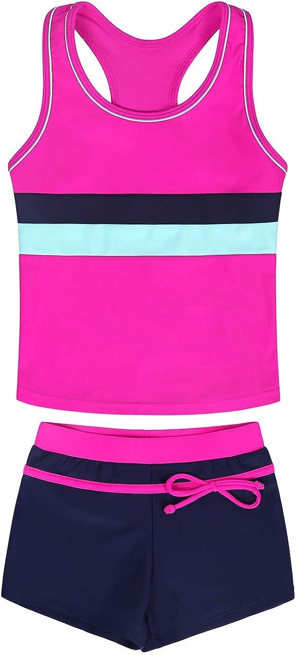 AmzBarley Little Girls Summer Two Piece Boyshort Tankini Kids Swimsuit