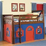 Bolton Furniture Mission Twin Low Loft Bed with Bottom Curtain and Built-In Ladder (Low Bed with Bottom Curtain & Slide)-Solid Wood and Veneers Children Bed with Dovetailed Drawer Box-Perfect Space Saver and Kid's Bedroom Furniture