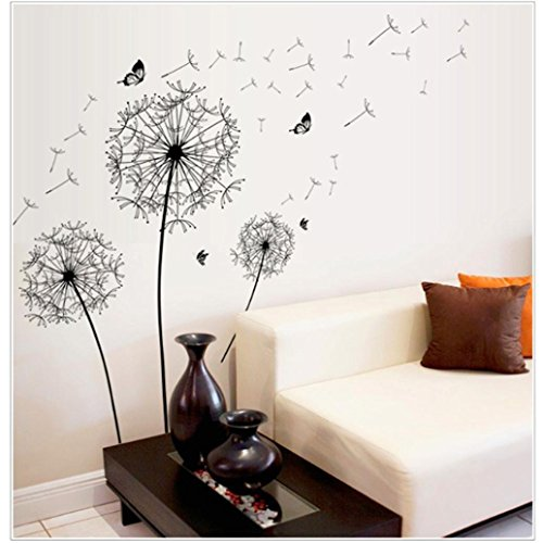JHKUNO Wall Décor Stickers, Large Black Dandelion Wall Sticker Art Decals DIY Home Decor (Black) ()