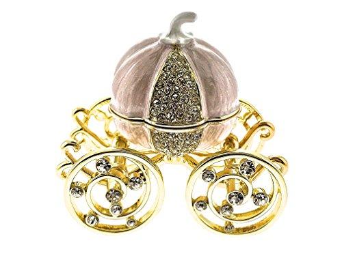 Cinderella Pumpkin Coach Jewelry Trinket Box Ring Necklace Earrings Holder Engagement Princess Enameled Bejeweled Swarovski Crystals Proposal Hinged Collectible Keepsake Pewter Treasure Rings Box