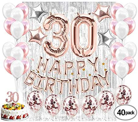 ROSE GOLD,BLUE DIRTY 30 Foil Ballon Birthday Party 30th Decoration GOLD SILVER