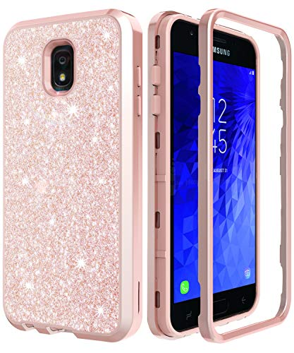 Case Design Stars Protector (AMENQ Case for Galaxy J7 Refine/J7 Star/J7 2018/J7 Crown/J7 Aura Hybrid Heavy Duty Glitter Design with Shockproof Premium Rubber Bumper and Rugged PC Protective Armor Phone Cover (Rose Gold))