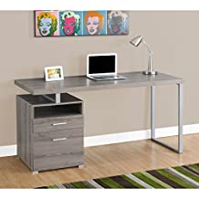 Monarch Specialties I 7145 Metal Computer Desk, Dark Taupe/Silver, 60""