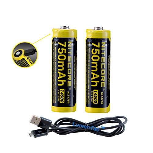 2x NITECORE NL1475R 750mAh 14500 Built-in Micro-USB Rechargeable Li-ion Battery with Lumen Tactical Charging Cable by Nitecore