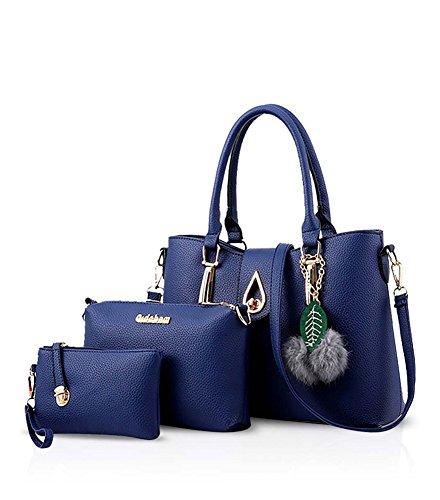 Minetom Mujeres Moda PU Mano Bolso de Cuero Bolso de Bombro Billetera Titular de La Tarjeta Sostenedor Totalizador 3pcs Set Azul