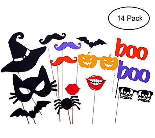 Youniker 14 PCS Happy Halloween Photo Booth Props,Funny Photo Booth Props for Halloween Party DIY Photo Booth Kit for Halloween -