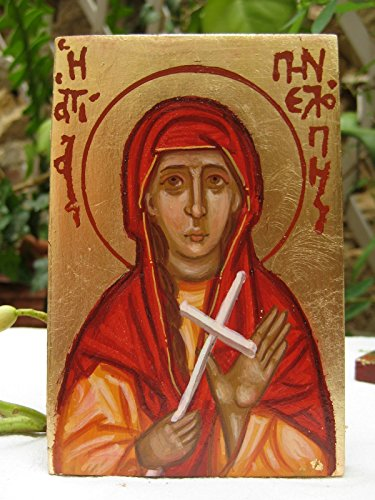 Made to order- Saint Penelope religious hand painted mini icon eggtempera on wood (Gilded Antique Patina Gold)