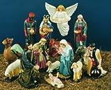36 inch Outdoor Nativity Manger Full Set - Vinyl, Granite Finish
