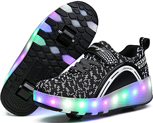 Disco Shoes Mens Gold (Boys Girls LED Light Up shoes with Wheels Roller Sneakers Skate Shoes (Black 2wheels 39/8 B(M) US Women / 6 D(M) US Men))