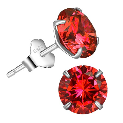 Bella.Vida Womens Sterling Silver January Birthstone Garnet Red Swarovski Elements Cz Diamond Stud Earrings 2.5cttw