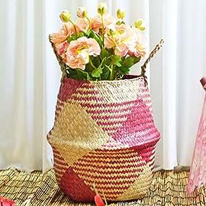 Amazon.com: Cesta de mimbre para flores o macetas plegables ...