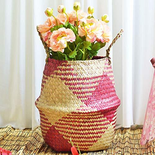 YJYdada Seagrass Wicker Basket Wicker Basket Flower Pot Folding Basket Dirty Basket (C)