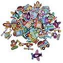 Fityle 漫画交通 木製ボタン 子供工芸 カラフル 約50個 全6タイプ - 混合の商品画像