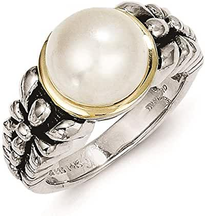 Shey Couture - 925 Sterling Silver w/14k Gold Accent Freshwater Cultured Pearl Antique Finish Ring