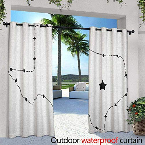 LOVEEO Texas Star Thermal Insulated Blackout Curtains USA State Map with Barbed Wire Pattern Monochrome Border Control Image Waterproof Patio Door Panel 96