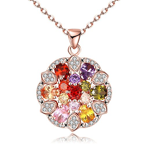 Rose Gold Multi Colored Cubic Zirconia Crystal Flower Charms Pendant Necklace for Women (Round circle Colorful Charms) - Multi Colored Sapphire Flower