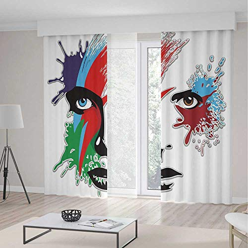 - ALUONI Blackout Curtains TT01 David Bowie Decor Living Room Bedroom Window Drapes Bowies Eyes Ziggy Stardust Expression Inspired 2 Panel Set 118W x 106LInches