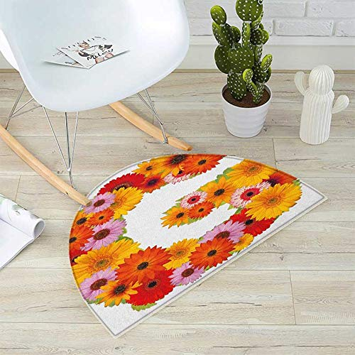 Letter G Half Round Door mats Composition with Fresh Garden Flowers Lively Summer Time Inspired Floral Font Bathroom Mat H 47.2'' xD 70.8'' Multicolor by homehot (Image #4)