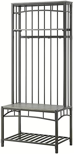 4D Concepts Tool Less Boltzero HALL BENCH, Washed Walnut Grey Metal