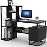 Little Tree Computer Desk for Small Spaces, 57'' Functional Writing Desk with Corner Tower Shelves and Two Drawers Works as Home Office Compact Workstation Desk (All Black)