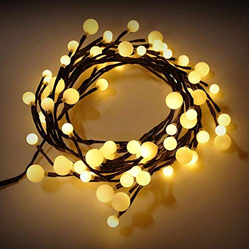 Micnaron LED String Lights 72 LED Rattan Style Lamp, 8 Modes 8.2ft DIY Decorative Lights for Bedroom,Home Decoration,Garden,Wedding,Xmas Party (Waterproof,Low Voltage Plug, Warm White)
