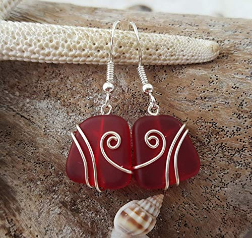 "Handmade jewelry from Hawaii, wire wrapped Ruby red sea glass earrings,""January Birthstone"", (Hawaii Gift Wrapped, Customizable Gift Message)"