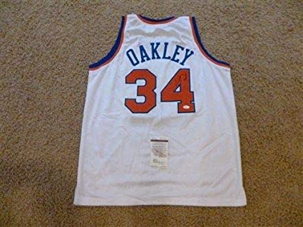 low priced cd1e2 bfb5b CHARLES OAKLEY SIGNED AUTO NEW YORK KNICKS WHITE JERSEY JSA ...