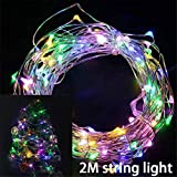 CAHEDSD Christmas Light Led Copper Wire String Light Battery Operated Lights Christmas Ornament Tree Decor for Year 2M Colorful