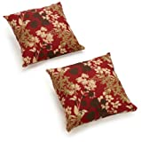 Blazing Needles Indoor/Outdoor Spun Poly 20-Inch by 20-Inch by 6-Inch Throw Pillow, Montfleuri Sangria, Set of 2 For Sale
