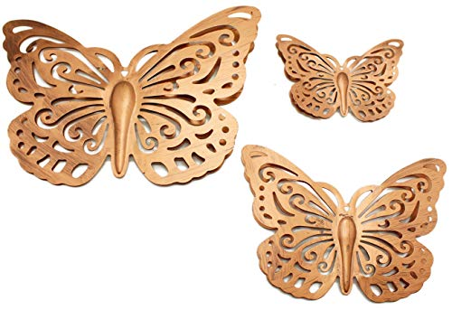 Twerp Metal Butterfly Wall Decor | Indoor and Outdoor Use | Powder Coated Metal – Will Not Rust | Set of 3