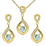 Kyпить 14K Yellow Gold Natural Aquamarine Earrings and Pendant Set with Diamond Accents Round 4 mm на Amazon.com
