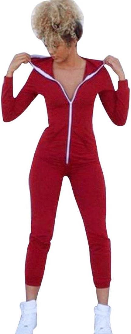 OHQ Mesdames Manches Longues Lotus Cap Pi/èCe Rouge Noir Femmes Sport Costume Body Long Sleeve /À Capuche Combinaisons Combishort Pantalons Femme Taille Haute De Ski Fille Ans
