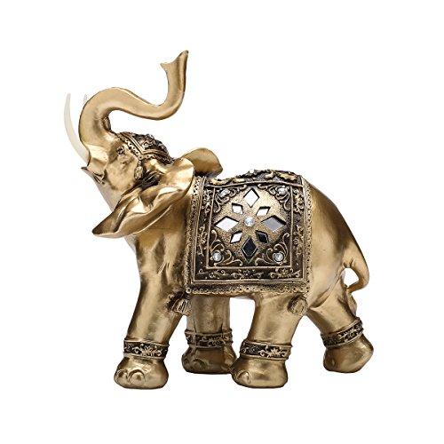 TOUCH MISS Golden Thai Elephant With Trunk Raised Collectible Figurines (Large) by TOUCH MISS