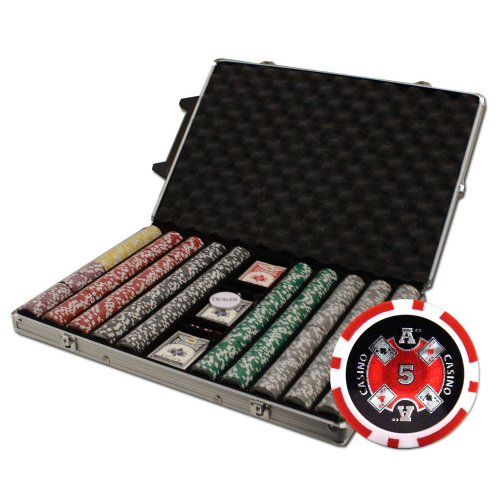 Brybelly 1000-Count Ace Casino Poker Chip Set in Rolling Aluminum Case, 14gm by Brybelly