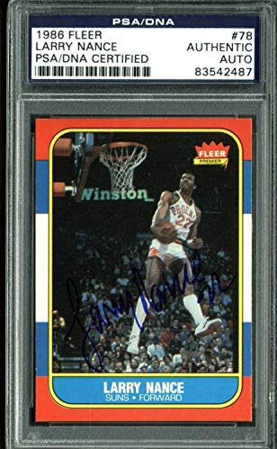 - Suns Larry Nance Authentic Autographed Signed 1986 Fleer Autographed Signed #78 Auto Card - PSA/DNA Authentic