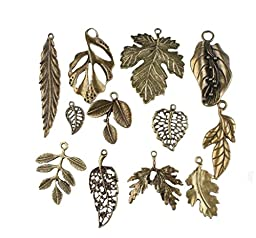 Vintage Bronze Mixed Tree Leaf Theme Tone Alloy Charms Finding Fit DIY Jewelry Making (pack of 24) by cn-lucky