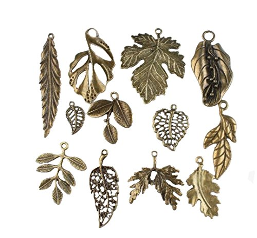 Jewelry Finding Dangle (Vintage Bronze Mixed Tree Leaf Theme Tone Alloy Charms Finding Fit DIY Jewelry Making (pack of 24) by cn-lucky)