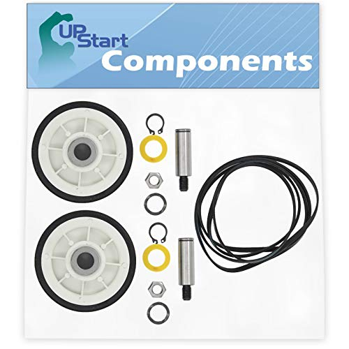 2 12001541 Drum Support Roller Kit & 1 312959 Belt Replacement for Maytag LDE8304ACE Dryer - Compatible with 303373 Drum Roller Wheel & WPY312959 Belt - UpStart Components Brand