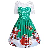 Youngh New Womens Christmas Dress Santa Claus Print Lace Loose A-Line Fashion Winter Vintage Maxi Dress Cocktail Party Dress