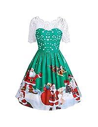 UNBRUVO Dresses for Women Merry Christmas Vintage Santa Claus Lace Party Dress