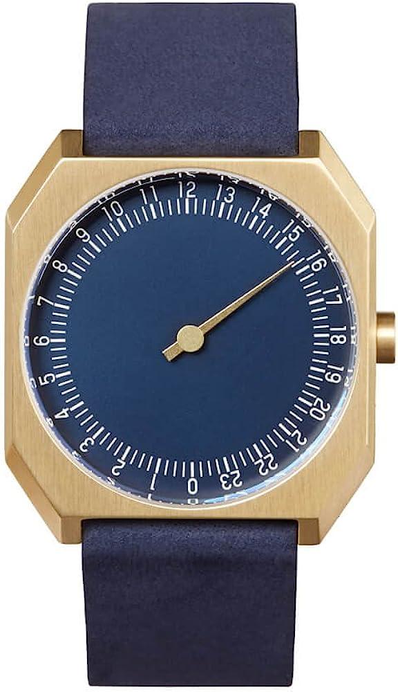 slow Jo 31 – Blue Nubuck Leather, Gold Case, Blue Dial