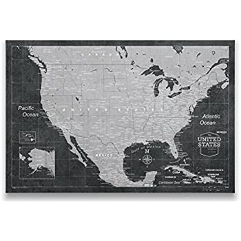 Amazon travel map of united states with pins by conquest maps travel map of united states with pins by conquest maps modern slate style push pin gumiabroncs Image collections