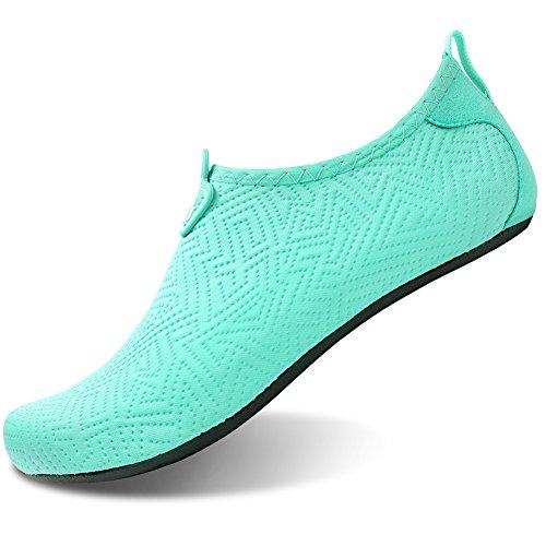 Barerun Barfuß Quick-Dry Wasser Sportschuhe Aqua Socken für Schwimmen Beach Pool Surf Yoga für Frauen Männer Blau Grün