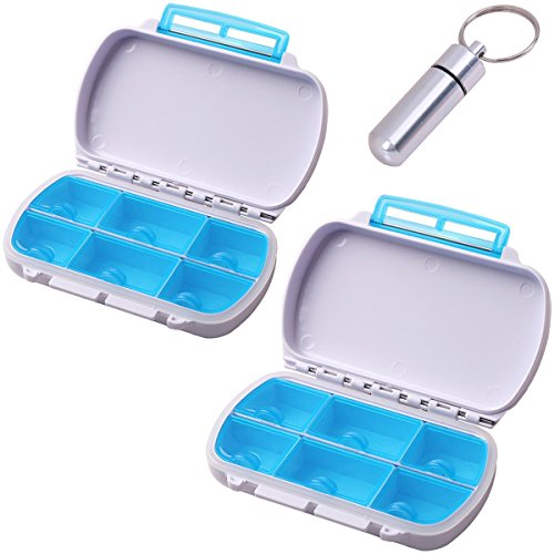 (Moisture Proof Travel Pill Organizer Holder, Qtimal 2 Pack Portable Pill Box Case, 6 Separate Compartments for Medication and Supplements, Bonus 1 Airtight Keychain Pill Container )