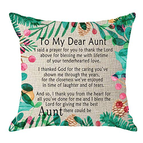 NIDITW to My Dear Aunt Easter with Watercolor Tropical Leaves Cream Burlap Throw Pillow Case Cushion Cover Outdoor Bench Decorative Square 18 inches