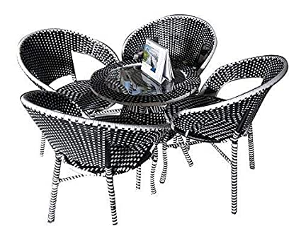 Wicker HUB GC01 Outdoor Set 4 Chair 1 Table Black/White Mix