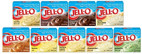 Jell-O Sugar Free Instant Pudding Sampler (Pack of 9 Different Flavors 0.9-1.4oz)